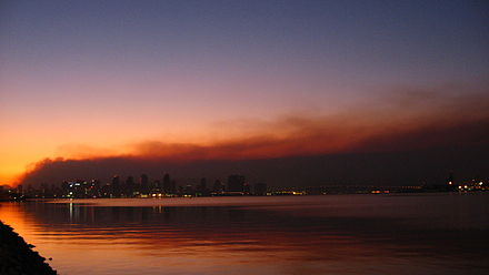 San Diego viewed against the Witch Creek Fire smoke San Diego skyline against smoke from wildfires Oct 2007.jpg