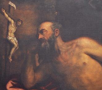 Giovanni Battista Maganza - Giovanni Battista Maganza, Saint Jerome penitent (1570), detail. San Marco in San Girolamo, Vicenza.