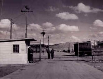 Sandia Base - Early security gate at Sandia Base, probably Gibson Avenue.
