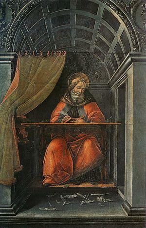 Saint Augustine in His Study (Botticelli, Uffizi) - Image: Sandro Botticelli St Augustin dans son cabinet de travail