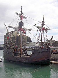 A ship replica of the Santa Maria.