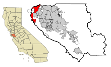 Santa Clara County California Incorporated and Unincorporated areas Palo Alto Highlighted.svg