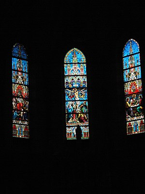 Sacred Heart Cathedral, Sarajevo - Image: Sarajevo cathedral windows