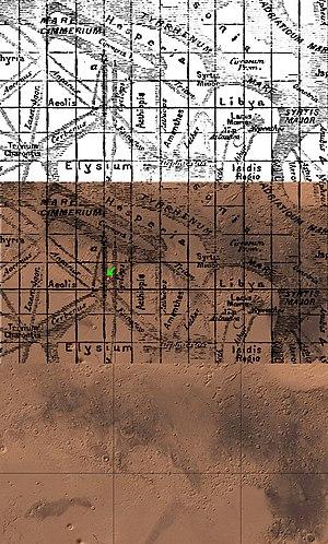 Gale (crater) - Image: Schiaparelli 1889 versus Mars crop