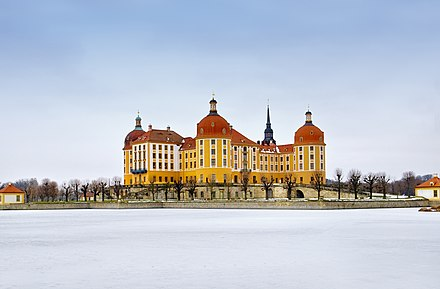 Saxony is home to numerous castles, like the Schloss Moritzburg north of Dresden. Schloss Moritzburg Winter JM.jpg