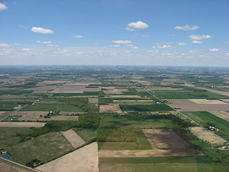 Geography of the United States - Much of the central United States is covered by relatively flat, arable land. This aerial photo was taken over northern Ohio.