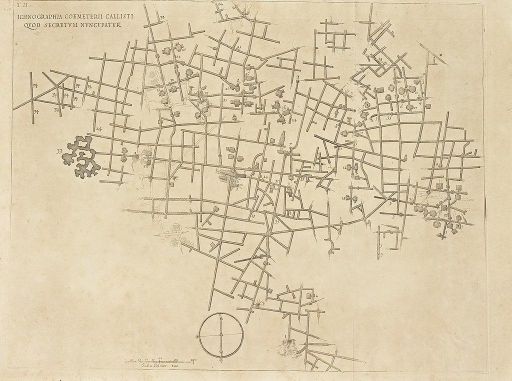 Plan des catacombes de Saint Calixte à Rome, véritable labyrinthe souterrain.