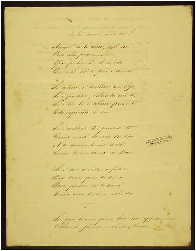 "Manuscript of Dias' poem ""Se te amo, nao sei!"", in his own handwriting. From the archives of the National Library of Brazil Se te amo, nao sei!.djvu"
