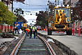 Seattle - laying trolley tracks on Broadway at James 05.jpg