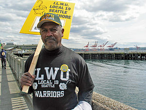 International Longshore and Warehouse Union - Longshore worker and crane operator Al Webster joined the Seattle march on May 1, 2007 to call for an end to the Iraq war.