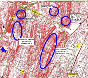 Second Battle of Winchester - MajGen. Milroy's defensive fortifications in Winchester, Virginia, in June 1863