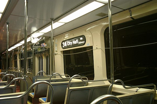 The interior of a Route 34 trolley in the Center City Tunnel. Septa34trolley.jpg