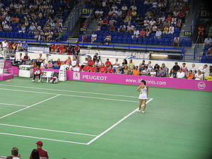 Serbia Fed Cup team - Jelena Janković team record holder with most total wins (34–16) and singles match wins (27–11) playing for Serbia against Slovakia (Košice 14 July 2007)
