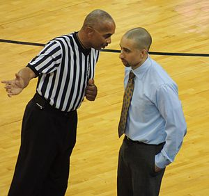Shaka Smart - Smart speaks with an official in a game in November, 2013