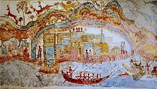 Ship procession fresco, part 1, Akrotiri, Greece