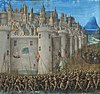 A horde of soldiers, carrying pikes and waving flags, march around the high walls of Antioch. Inside can be seen many small houses and, in the centre, a cathedral.