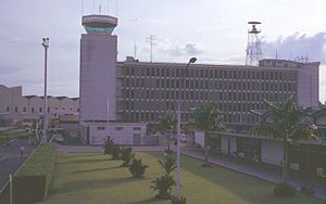 Paya Lebar Air Base - Singapore International Airport control tower and terminal building, photographed February 1969 × July 1971.