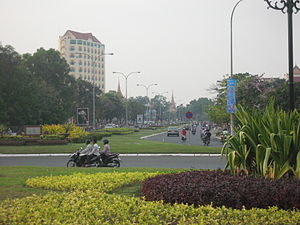 Sisowath Quay - Boulevard leading to the riverfront.