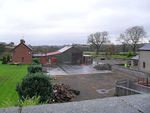 Katesbridge railway station - Katesbridge Station opened in 1880. The trackbed ran between the goods shed (now a barn) and the red brick house (this is likely a replacement dwelling) - the hedge marks it out quite well. The view is towards Banbridge. Photograph 29 October 2009