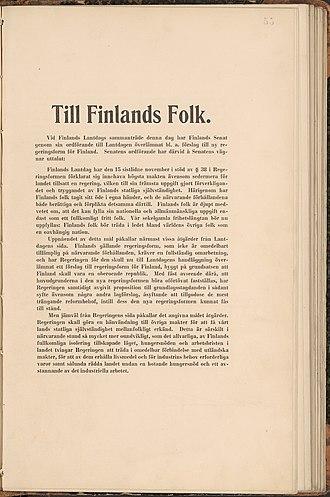 Finnish Declaration of Independence - Image: Självständighetsförk laringen 4 12 1917 1