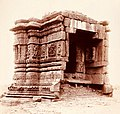 Small Hindu shrine ruins with kama reliefs, Motap, Mehsana Gujarat, 1885 photo, British Library.jpg