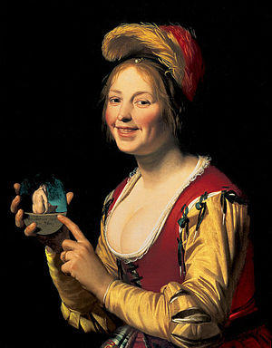 1625 in art - Image: Smiling Girl, a Courtesan, Holding an Obscene Image
