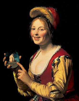 1625 in art - Image: Smiling Girl, a Courtesan, Holding an Obscene Image