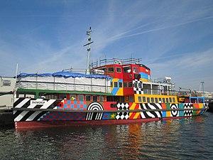 Dazzle ship (14-18 NOW) - MV Snowdrop, at Birkenhead, in dazzle livery