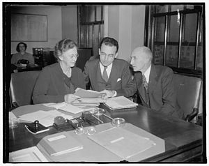 Arthur J. Altmeyer - Altmeyer (center) presiding over an early meeting of the Social Security Board, 1937