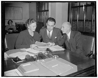 Arthur J. Altmeyer - Altmeyer (center) presiding over an early meeting of the Social Security Board, 1937