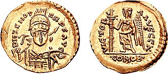 Zeno (emperor) - This solidus was minted by Odoacer in the name of Zeno. Odoacer ruled Italy under the formal patronage of the Eastern Emperor.