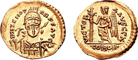 Odoacer solidus struck in the name of Emperor Zeno, testifying to the formal submission of Odoacer to Zeno. Solidus-Odoacer-ZenoRIC 3657cf.jpg