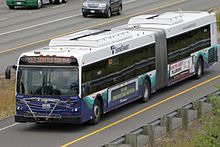 A Sound Transit bus on a freeway onramp