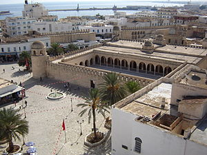 Sousse - The Grand Mosque of Sousse, Tunisia, as seen from the tower of the Ribat