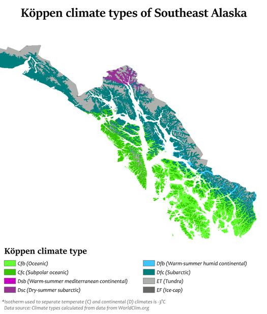 Классификация климатов Кёппенапо Юго-Восточной Аляске