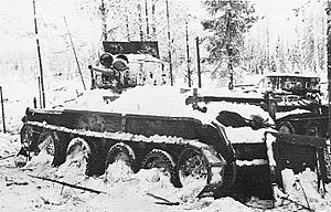 English: Soviet BT-5 tank at winter war time i...