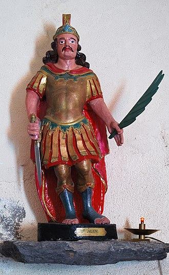 Julian the Hospitaller - Statue of Saint Julian in the church of Saint-Julien (Puy-de-Dôme, France).