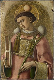 Saint Stephen, depicted by Carlo Crivelli in 1476 with three stones and the martyrs' palm.