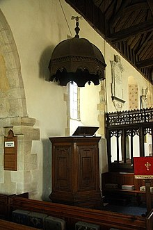 A tester (canopy) above a pulpit & tester - Wiktionary