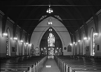 St. John's Episcopal Church (Montgomery, Alabama) - An interior view toward the altar in 1934.