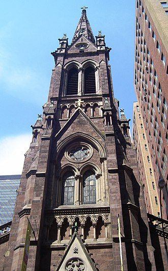 Napoleon LeBrun - The steeple of the Church of St. John the Baptist (1872) in Manhattan, New York City