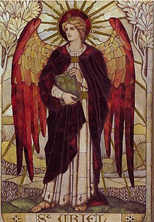 Grande Arcangelo Uriel. Mosaico di San Uriel di James Powell e Figli, nella Chiesa di San Giovanni, Boreham, Wiltshire.