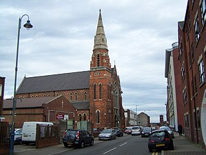 St Anne's Church, Birmingham - South side of the church and parish centre