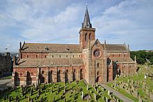 colour photograph of St Magnus Cathedral, Kirkwall, Orkney - viewed from Bishop's Palace
