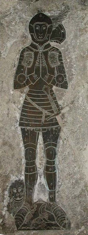 Man-at-arms - English man-at-arms, funerary brass c. 1431
