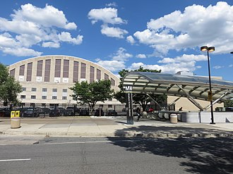 Stadium–Armory station - North head house of the station, adjacent to the D.C. Armory