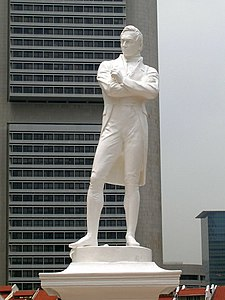 Statue of Thomas Stamford Raffles by Thomas Woolner, erected at the spot where he first landed at Singapore. He is recognised as the modern founder of Singapore.