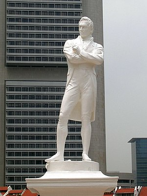 History of Singapore - A statue of Raffles by Thomas Woolner now stands in Singapore, near Raffles's landing site in 1819.