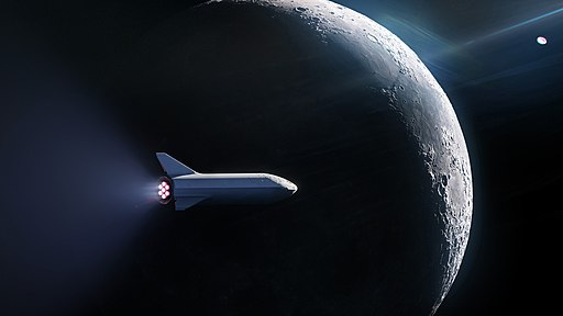 Starship passing the Moon-2018 version
