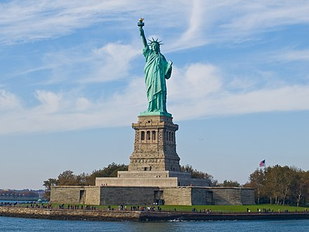 The Statue of Liberty in New York Harbor is a symbol of the United States and its ideals. Statue of Liberty, NY.jpg